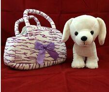 Plush Toy Puppy Dog Zebra Animal Print Carrier Purse Purple Stripes 4 Christmas
