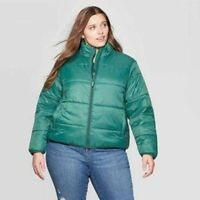Universal Thread Womens 3X Green Puffer Jacket Winter Plus New