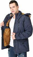 Gmardar Men's Winter Warm Faux Fur Lined Coats Jackets, 7176navyblue, Size Large