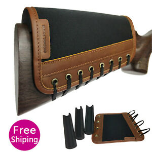 Leather Rifle Ammo Gun Buttstock Cover non-slip Cheek Rest Pad USA Delivery
