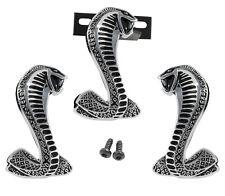 OEM Ford Mustang Black & Chrome Cobra Fender Grille Snake Emblems 3pc Combo Kit