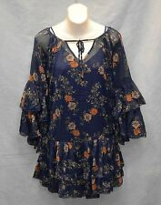 B2 NEW FREE PEOPLE Blue Combo  Floral Printed Mini Dress Size S $128