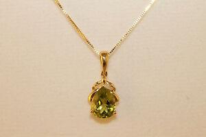 "14K 10K Yellow Gold Peridot Necklace Earrings Jewelry Set August Birthstone 18"""