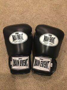 Pro Main Event Fight Gear Mens Black/White 16oz. Boxing Gloves