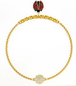 Swarovski Remix Strand Ladybug Bracelet Multicoloured Gold Plated Size L New