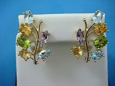 14K YELLOW GOLD MULTI-GEMSTONE LARGE EARRINGS,12.6 GRAMS,SAFETY OMEGA BACK,ITALY