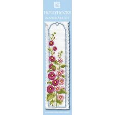 Hollyhocks Flowers Bookmark Counted Cross Stitch Kit Textile Heritage