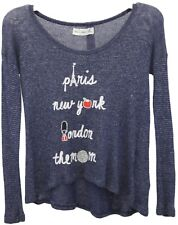 Youth Girls Abercrombie Kids Navy Blue Long Sleeve Graphic Tee Shirt Top Sz M