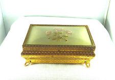 Antique Regent of London, Petit Point, Gold Filigree Jewel Box
