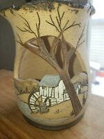 Vintage Handpainted Winter Scene Cut Out Pottery Votive Candle Holder Bottom...