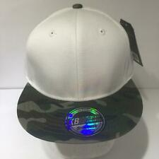 Vintage KB Ethos White Camouflage Brim Snapback Cap Hat OSFA NWT