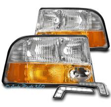 FOR 98-04 GMC SONOMA/01 JIMMY PICKUP HEADLIGHTS+FOG LAMP CHROME W/BUMPER DRL LED