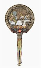 Egyptian Hand Mirror Goddess Winged Isis with Scarab Vanity Mirror home decor