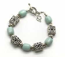 Sterling Silver Mint Green Chalcedony Square Swirl Puffy Toggle Tennis Bracelet