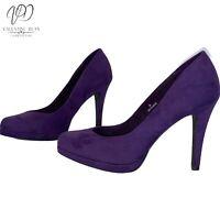 M&S Collection Women's Shoes Purple Suedette Court Pumps Round Toe Size 4 UK