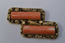 ANTIQUE VINTAGE QING? DYNASTY CORAL GILT SILVER BROOCH PIN STERLING