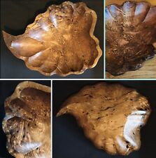 Fruit Bowl Dish Burr Burl Wood Plate Carved Wooden Leaf Shape Art Deco Style