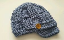 NEW Newborn Baby Newsboy Hat Crochet infant photo prop Gift Stonewash blue