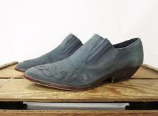 ELLEMENNO Vintage Blue Suede Leather REBA Western Ankle Bootie Shoes Women 7