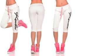 Damen Jogging Sweat Pants Kurze Sporthose Damen Fitness Hose - CREAM -