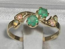 10ct Yellow Gold Natural Emerald & Opal Womens Band Ring - Sizes J to Z