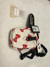 NEW HELLO KITTY x CONVERSE Crossbody Phone Pouch Bag White Red Ribbons  Cordura 5e2ceb6596c8d