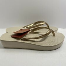 New Havaianas Womens High Wedge Sandal Beige USA Size 5 1/2 (37) -New with Tags