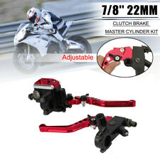 "Universal Red Motorbike Brake Clutch Master Cylinder Levers Reservoir 22mm 7/8"""