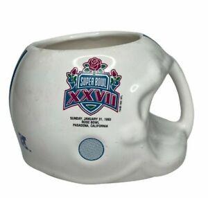 Vintage 1993 NFL Super Bowl 27 XXVII Helmet Coffee Mug Cup Cowboys Bills RARE