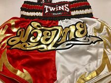 Twins Special TBS Classic Muay Thai MMA Kickboxing White Red Large Boxing Shorts