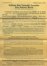 1927 C.S.A.A. Insurance Certificate for a Studebaker Automobile