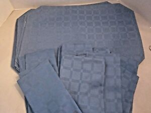 16 pc placemat & napkin set fabric. blue tone on tone checkered. 8 each.