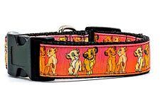 """Simba & Nala Lion King dog collar handmade adjustable buckle 1"""" wide or leash"""