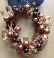 A Pretty Gold And Crystal Beaded Hair Bobble/scrunchie