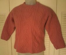 Vintage Aran Crafts Mauve Cable Knit Fisherman 100% Wool, Hand Fashioned Sweater