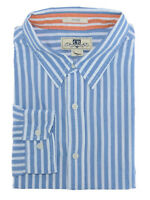 Macy's Club Room 100% Cotton Slim Fit Blue White Striped Casual Shirt Size XL