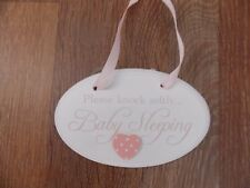 pink and white baby hanging plaque decoration  PLEASE KNOCK SOFTLY BABY SLEEPING