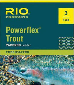 RIO Powerflex Trout Tapered Leader 3 Pack 7.5 ft, 9 ft Lengths All Sizes