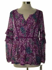 Style & Co. Sz M Womens Blouse NEW Purple Floral Top Pintuck Long Sleeves