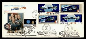 DR WHO 1975 FDC SPACE APOLLO/SOYUZ FLEETWOOD CACHET BLOCK COMBO AFDCS g05213
