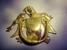 Solid brass door knocker, eagle w/ shield, vintage_Se-173P
