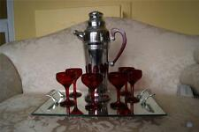 Antique Art Deco Chrome Shaker w/ Red Bakelite Handle & 6 Ruby Red Glasses Set