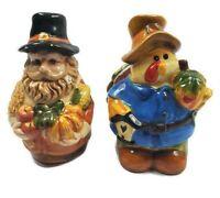 "Pilgrim & Turkey Vintage Ceramic 3 1/2"" Thanksgiving Salt & Pepper Shakers"