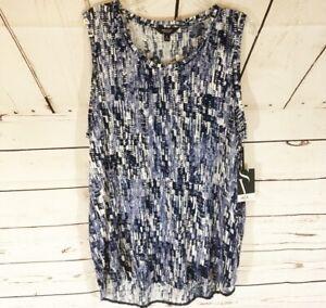 Simply Vera Wang Size XL Top Shirt Tank Tunic Black Blue & White Print New NWT