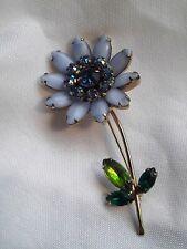 "Vintage WEISS Blue CABOCHON & Multicolored Rhinestone 3"" LONG FLOWER BROOCH PIN"