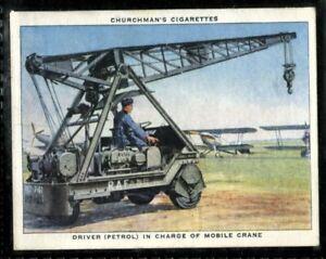 Tobacco Card, Churchman, THE RAF AT WORK, 1938, Driver Mobile Crane, #38