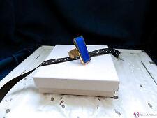 SARA BLAINE Cleo Ring ~ Emerald Cut Blue Agate  ~ 18K GP Size 8