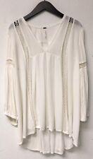 Free People Ivory Gauze Cutout Boho Chic Hi Lo Mini Swing Dress Size XS 0 2
