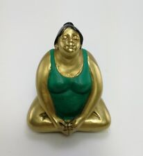 Fat Lady Art Woman Yoga Statue Brass Sculpture Thai Figurines Solid Decor Gift