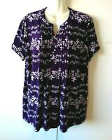 WOMEN'S CROFT & BARROW PURPLE WITH WHITE FLORAL PRINT PINTUCK TOP SIZE XXL